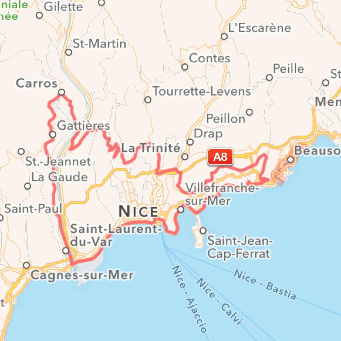 Cykelruter i Sydfrankrig, Villa Romarine via KKP Provence, Nice og Col d´Eze