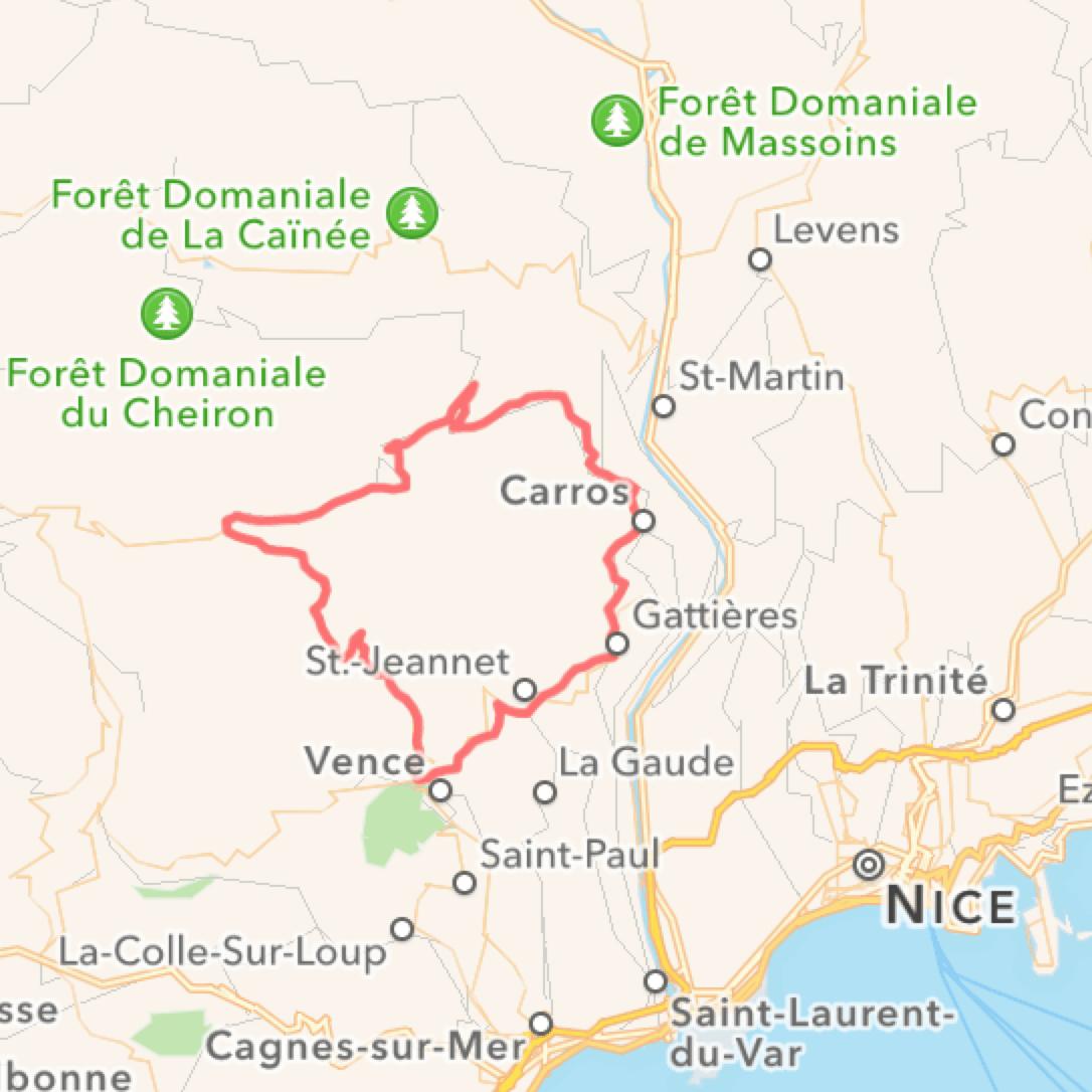 Cykelruter i Sydfrankrig, Villa Romarine via KKP Provence, Col de Vence
