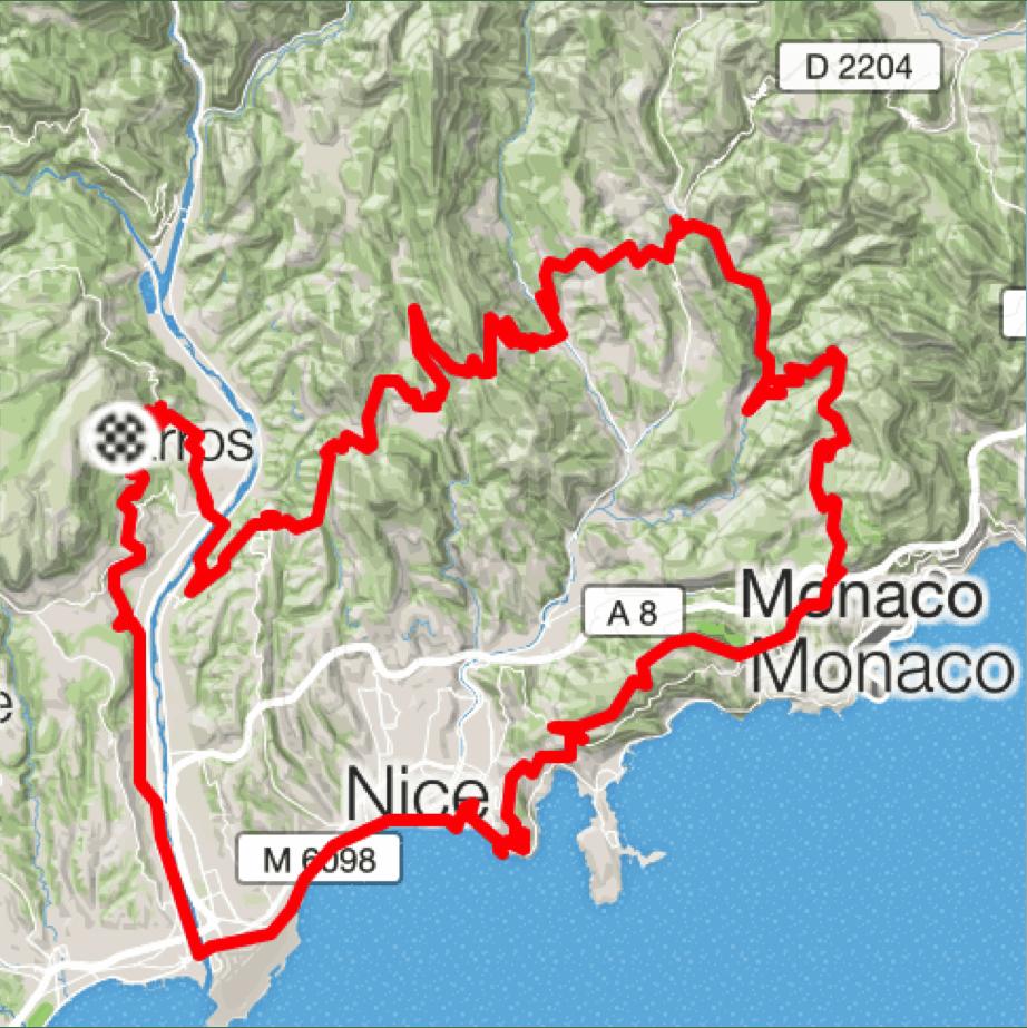 Cykelruter Provence Sydfrankrig, VIlla Romarine via KKP Provence, Col d'Eze pg Peille